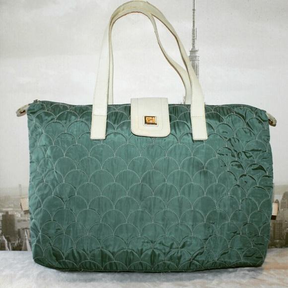 Diane Von Furstenberg Handbags - DVF Jade Green Quilted Weekender Tote Bag fc8f59fc3f